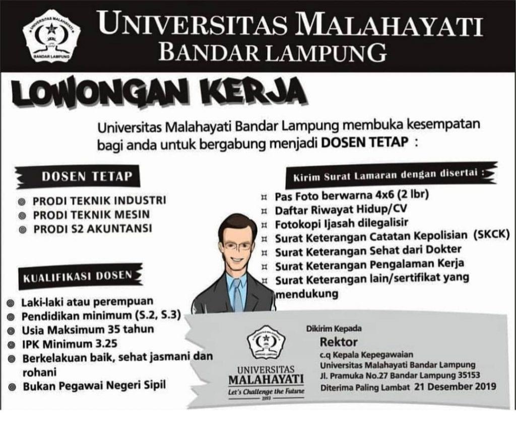 Lowongan Dosen Universitas Malahayati Bandar Lampung Deadline 21 Desember 2019 Metsi Ft Ugm